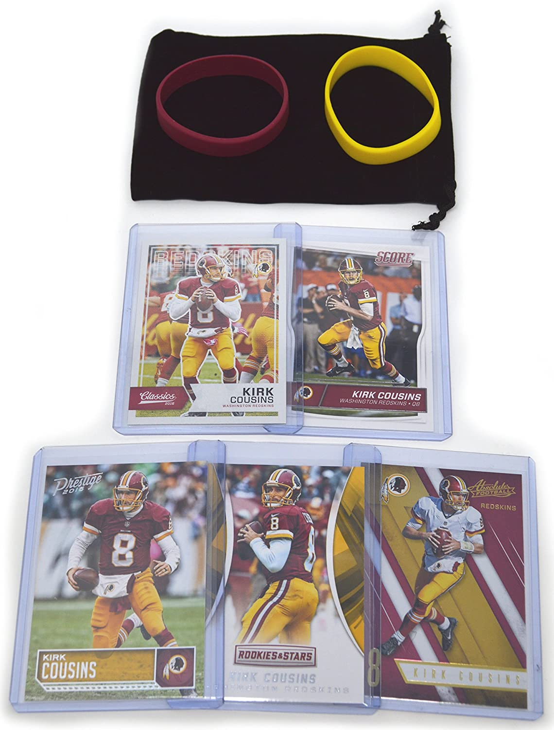 Kirk Cousins Football Cards Assorted (5) Bundle - Washington Redskins Trading Cards Panini Bowman Topps