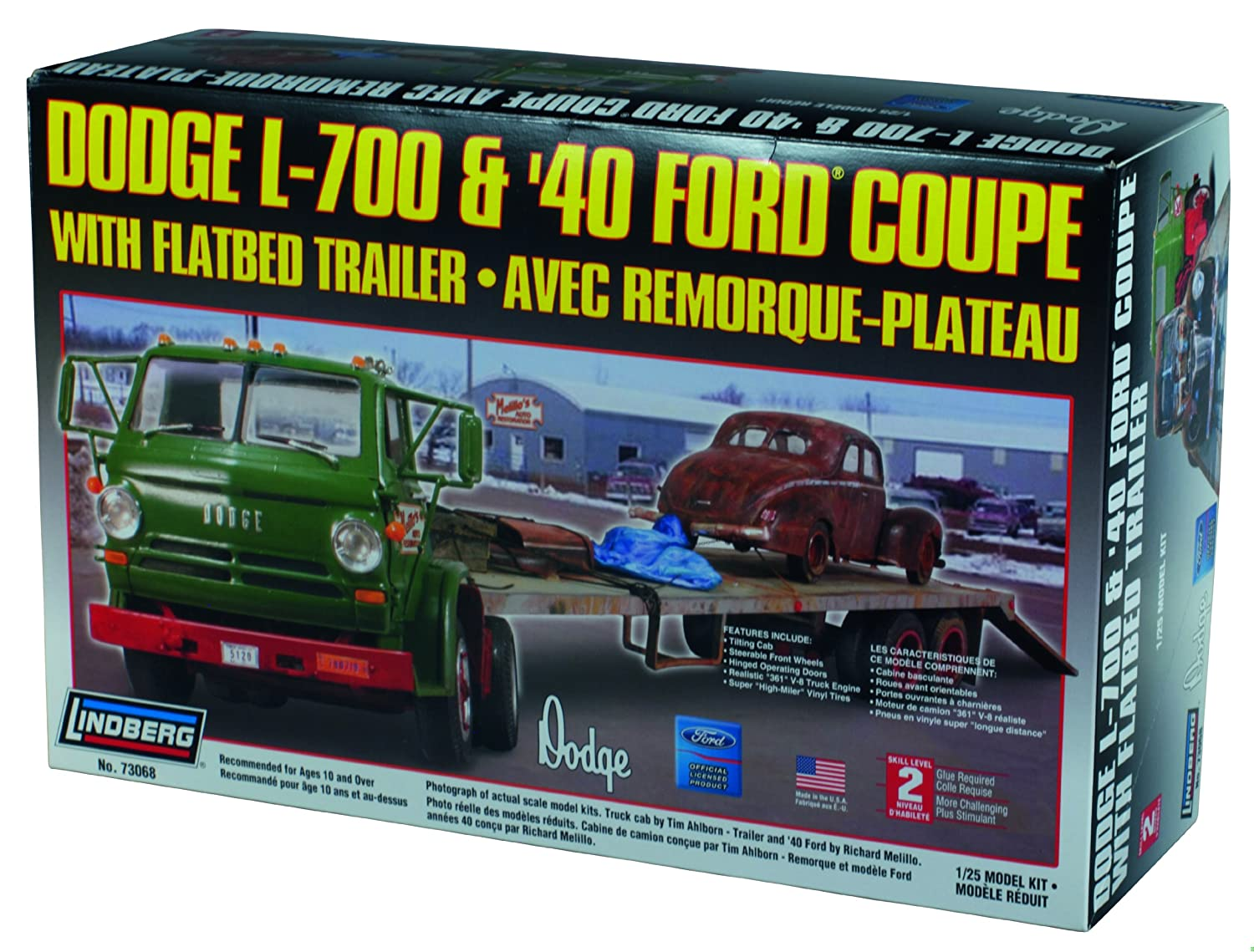 Lindberg Models Dodge L-700 and 1940 Ford Coupe with Flatbed Trailer