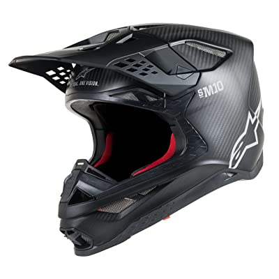 Alpinestars Supertech S-M10 Solid Off-Road Motocross Helmet (Large, Carbon Black): Automotive