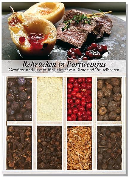 Feuer & Glas Receta para Lomo de Corzo en Salsa de Vino Oporto, Especias,