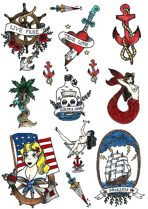 Tatuajes Temporales Tatsy, Marinero Set, Diseño Original Y Oldschool, Marino, Diversión,