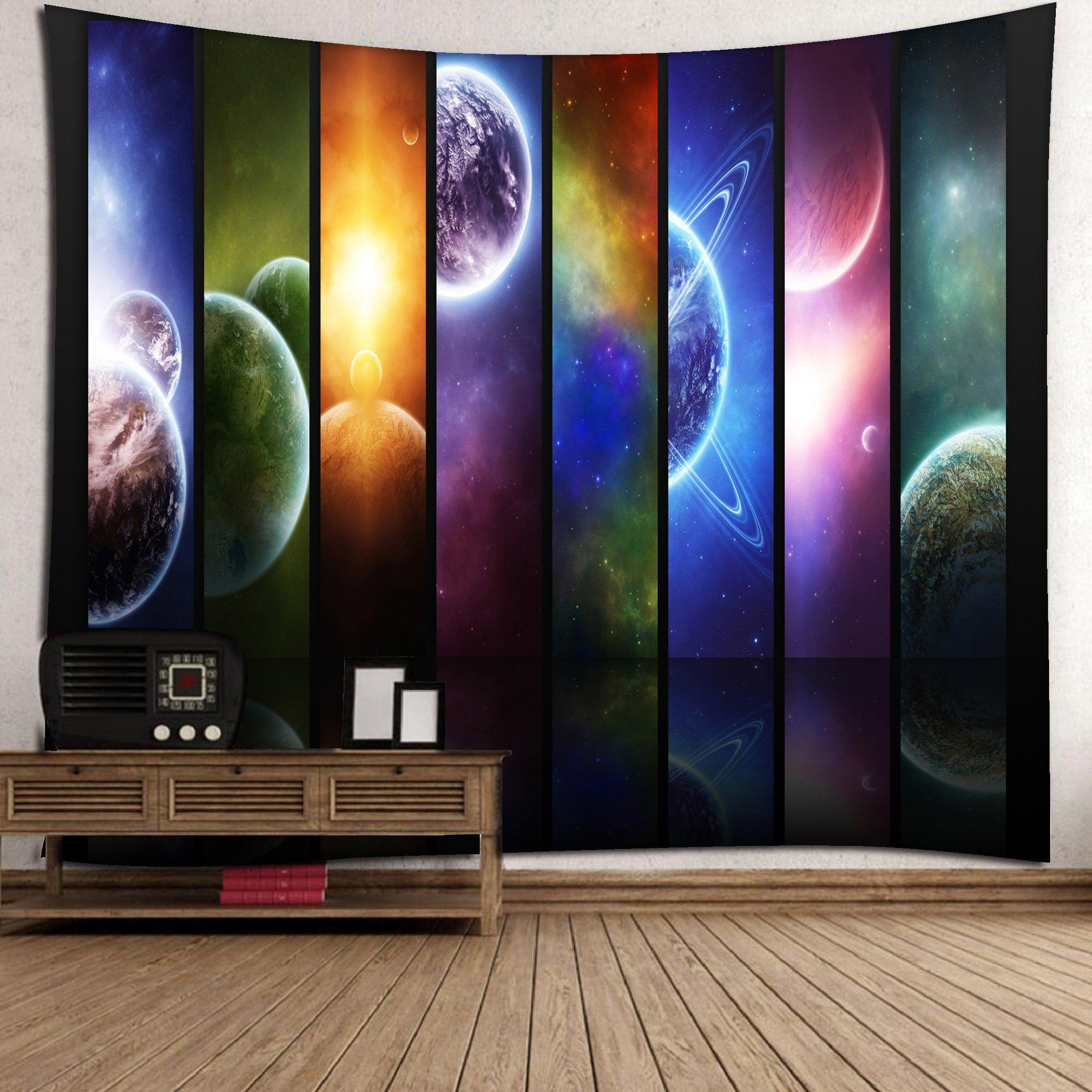 Get Orange Planet Tapestry Universe Space Educational Solar System Planets Neptune Venus Mercury Kids Science Room Horizontal Art, Bedroom Living Room Dorm Wall Hanging 80X60Inch