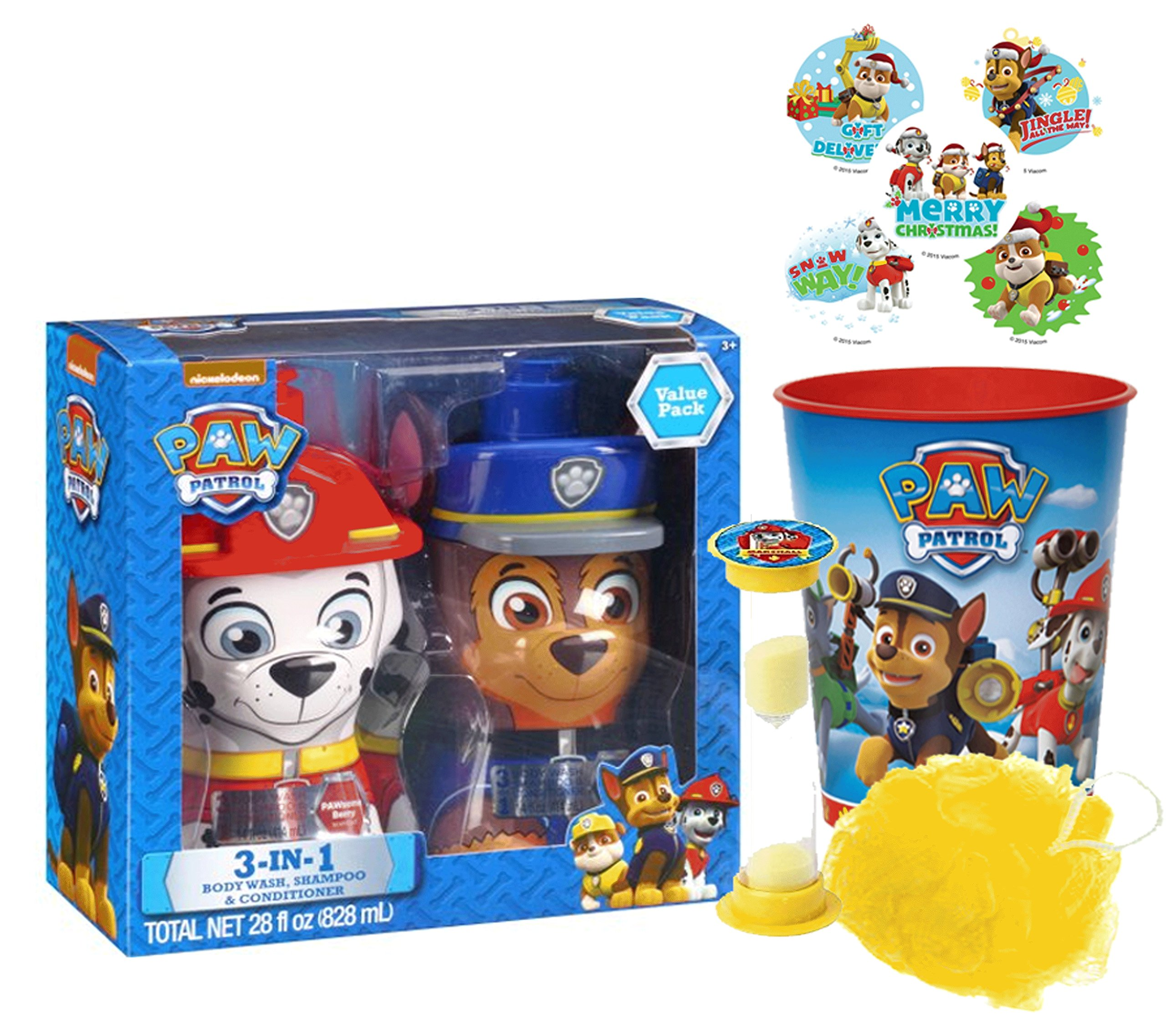 Paw Patrol 5pc Bath Time Gift Set! Includes 3-in-1 Body Wash, Shampoo & Conditioner, Bath Scrubby, Rinse Cup & ''Time To Get Out'' Bath Timer! Plus Bonus Paw Patrol Stocking Stuffer Holiday Stickers!