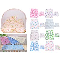 Toddylon® Mosquito Net Bed/Toddler Mattress and Plastic Diaper Changing Sheets Along with 8 Baby Jhabla/Vest and 8 Single Layer Nappies Combo (Multicolour; 0-6 Months)