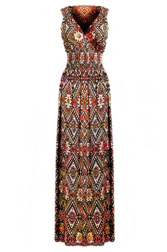 G2 Chic® Women's Bohemian Summer Smocked Jersey Maxi Dress