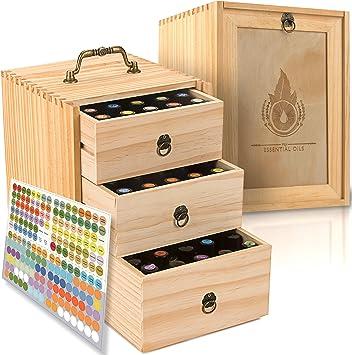 Caja de aceite esencial – Caja de almacenamiento de madera con asa. Capacidad para 75 botellas y