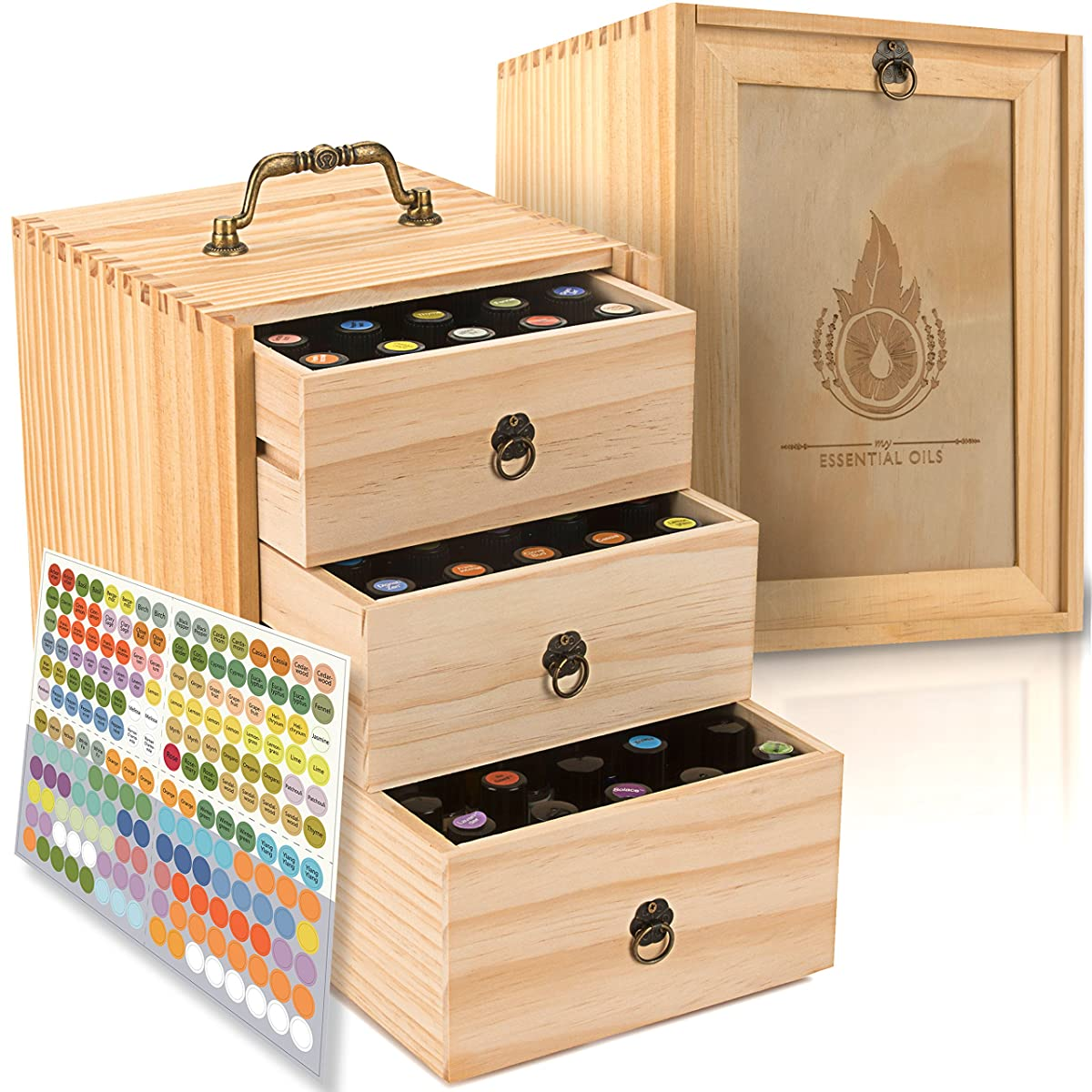 Essential Oil Box - Wooden Storage Case With Handle. Holds 75 Bottles & Roller Balls. 3 Tier Space Saver. Large Organizer Best For Keeping Your Oils Safe. Free EO Labels