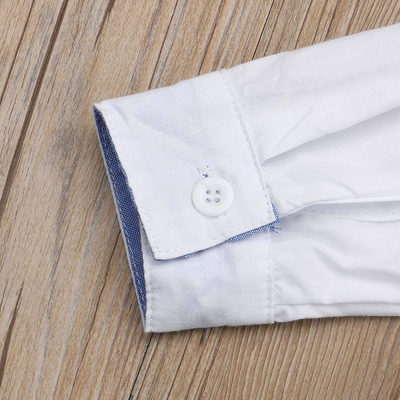 VISGOGO Kids Toddler Boy Long Sleeve Bow Tie Shirt Dress Suspender Short Pants 2Pcs Outfit Wedding Clothes