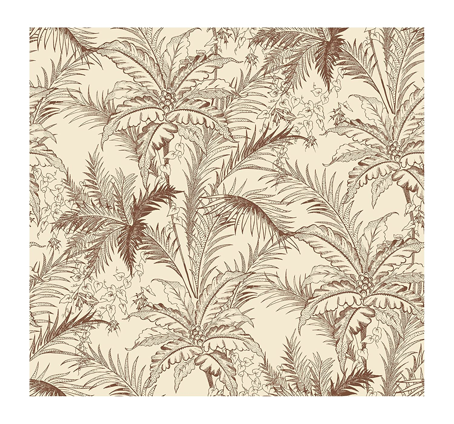 York Wallcoverings AC6105SMP By The Sea Leaf Toile  8 X 10 Wallpaper Memo Sample Brown//Grey Background