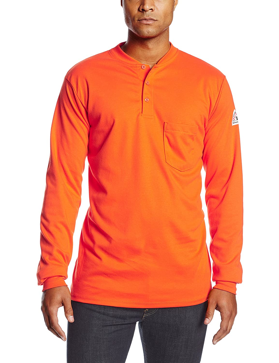 9fc00a74125 Top1  Bulwark Flame Resistant 6.25 oz Cotton Excel FR Mens Long Sleeve  Tagless Henley Shirt with Three Button Placket
