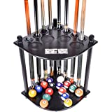 Cue Rack Only - 8 Pool Billiard Stick & Ball Floor Stand with Scorer Choose Mahogany, Black, Dark Oak or Natural Finish
