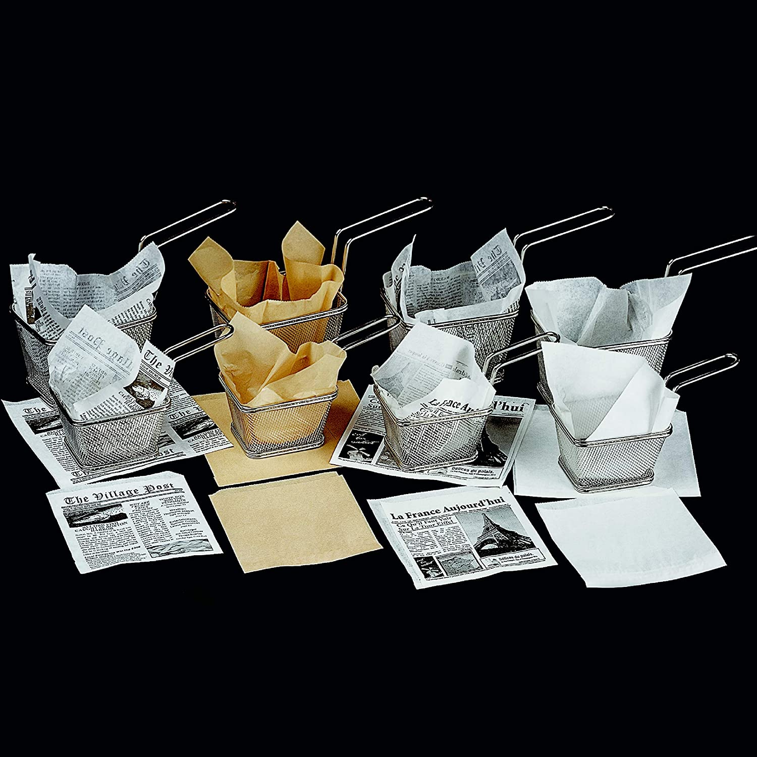 Enterprises White Newspaper Theme Cone Basket Liner Deli Wrap Paper Paper Food-Safe Tissue Liners Collection 4-T3050 G.E.T Pack of 2000