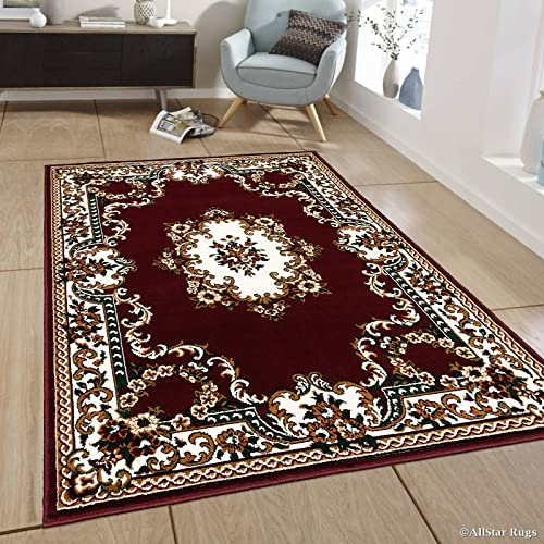 Allstar 8×11 Burgundy Traditional Rectangular Accent Rug with Ivory and Mocha Bordered Medallion Persian Design 7 6 x 10 5