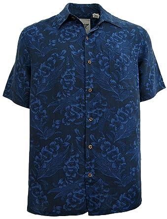 Mens Silk Linen Blend Hawaiian Camp Shirt Navy Blue Floral Casual ...