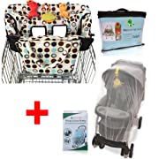 Crocnfrog Baby Travel Accessory for Shopping |Value Pack of Shopping Cart Cover & Mosquito Net for Stroller, Crib, Bassinet