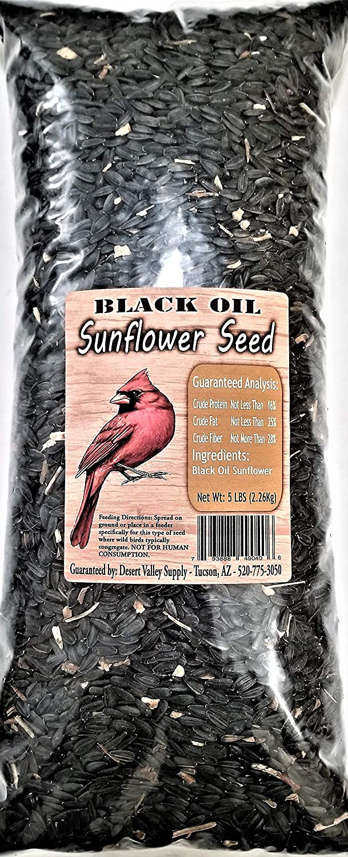 Premium Black Oil Sunflower Seed - Cardinals - Birds - Animals (5-Pounds)