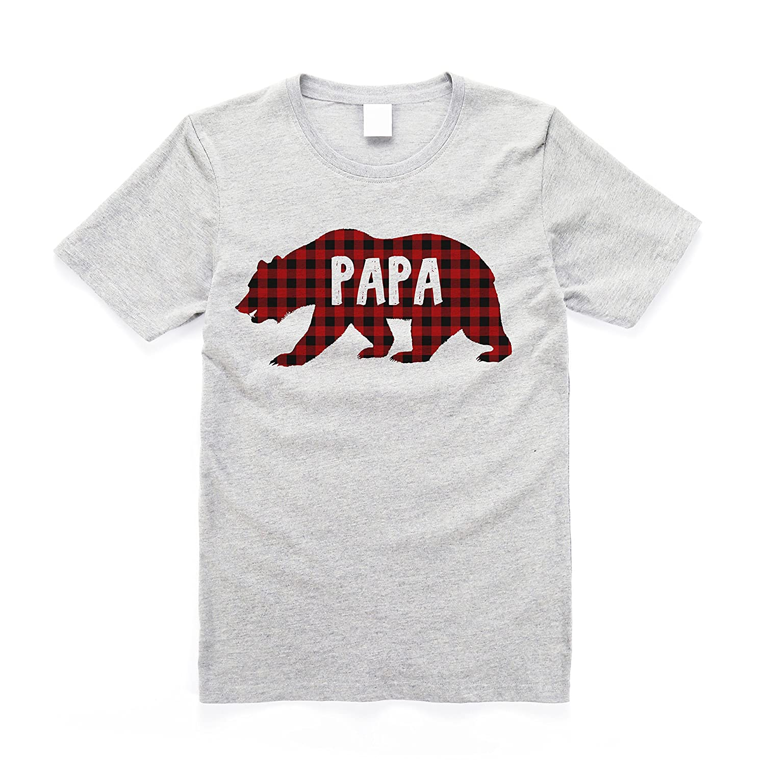 Amazon.com  Global Street Designs Men s Buffalo Plaid Papa Bear Cotton T- Shirt  Clothing a72222f87