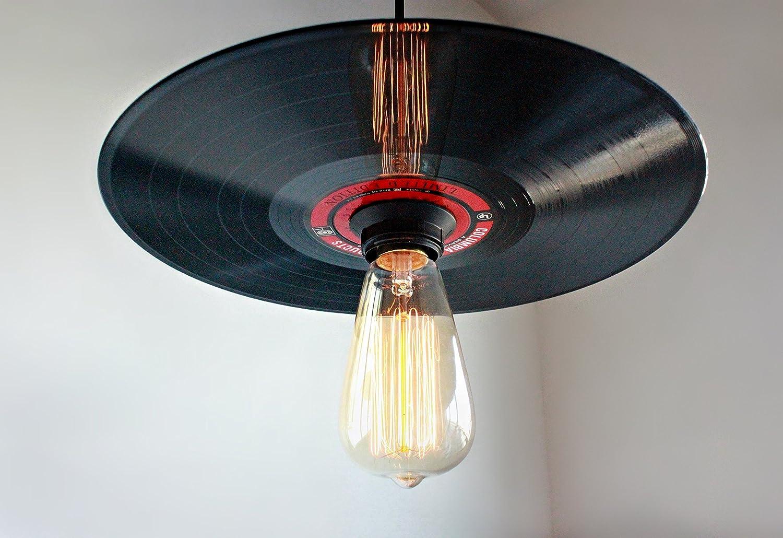 Vinyl Record Pendant Light - Rock N' Roll Decor - Record Player Stand Lighting, Rock and Roll Art, Hanging Light Fixture Vintage Edison bulb