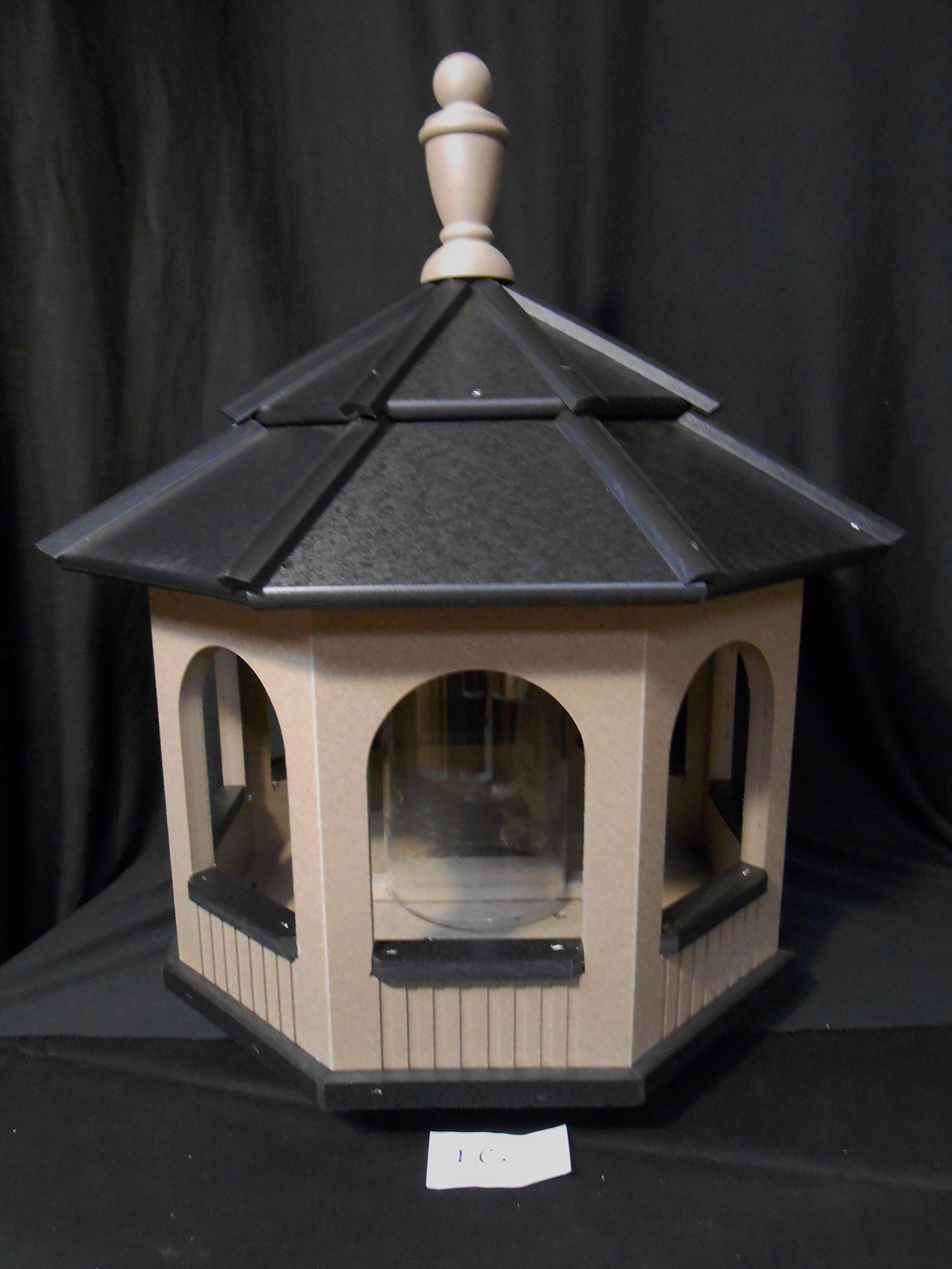 Large Gazebo Vinyl Bird Feeder Amish Homemade Handmade Handcrafted Clay & Black