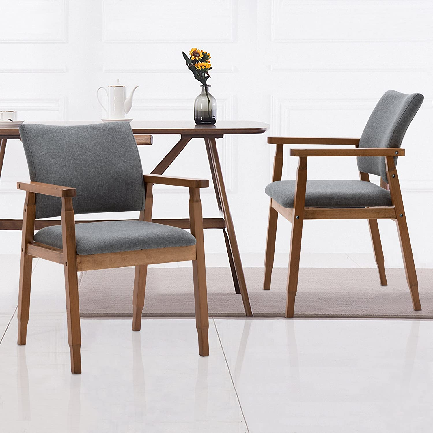 Amazon com set of 2 mid century modern dining chairs wood arm gray fabric kitchen cafe living room decor furniture chairs