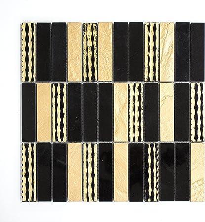 Fliesen Carrelage mosa/ïque en marbre Or Mat Noir Cuisine Salle de Bain WC 8/mm # 748
