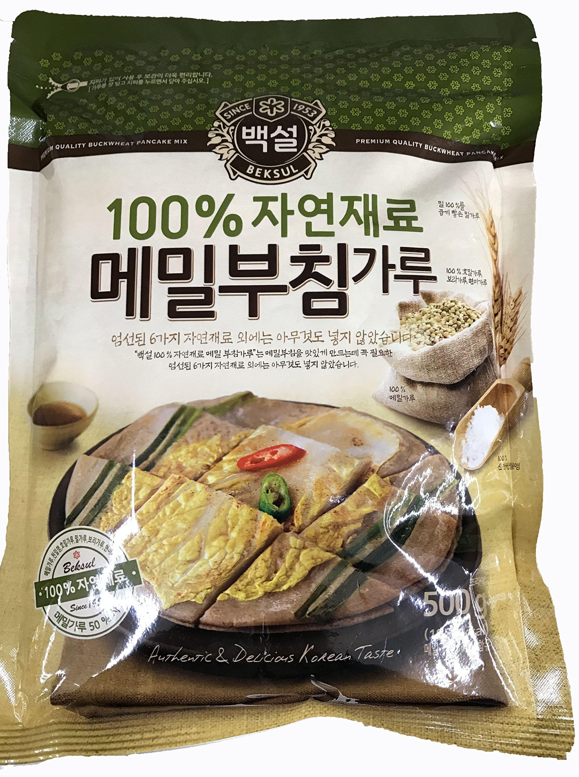 Beksul Natural Buckwheat(Memil) Pancakes Mix; 500g(1.1 pounds) by Planetkorean