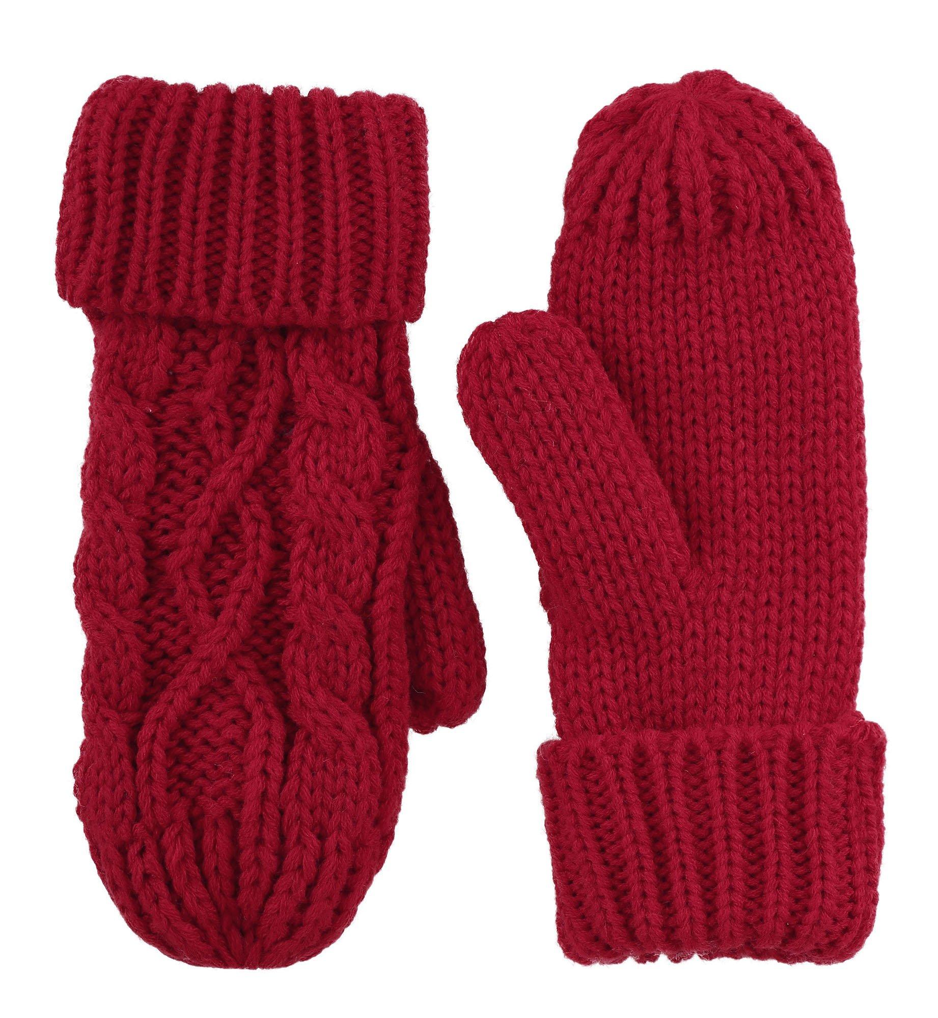 ANDORRA - 3 in 1 - Soft Warm Thick Cable Hat Scarf & Gloves Winter Set, Red by Andorra (Image #5)