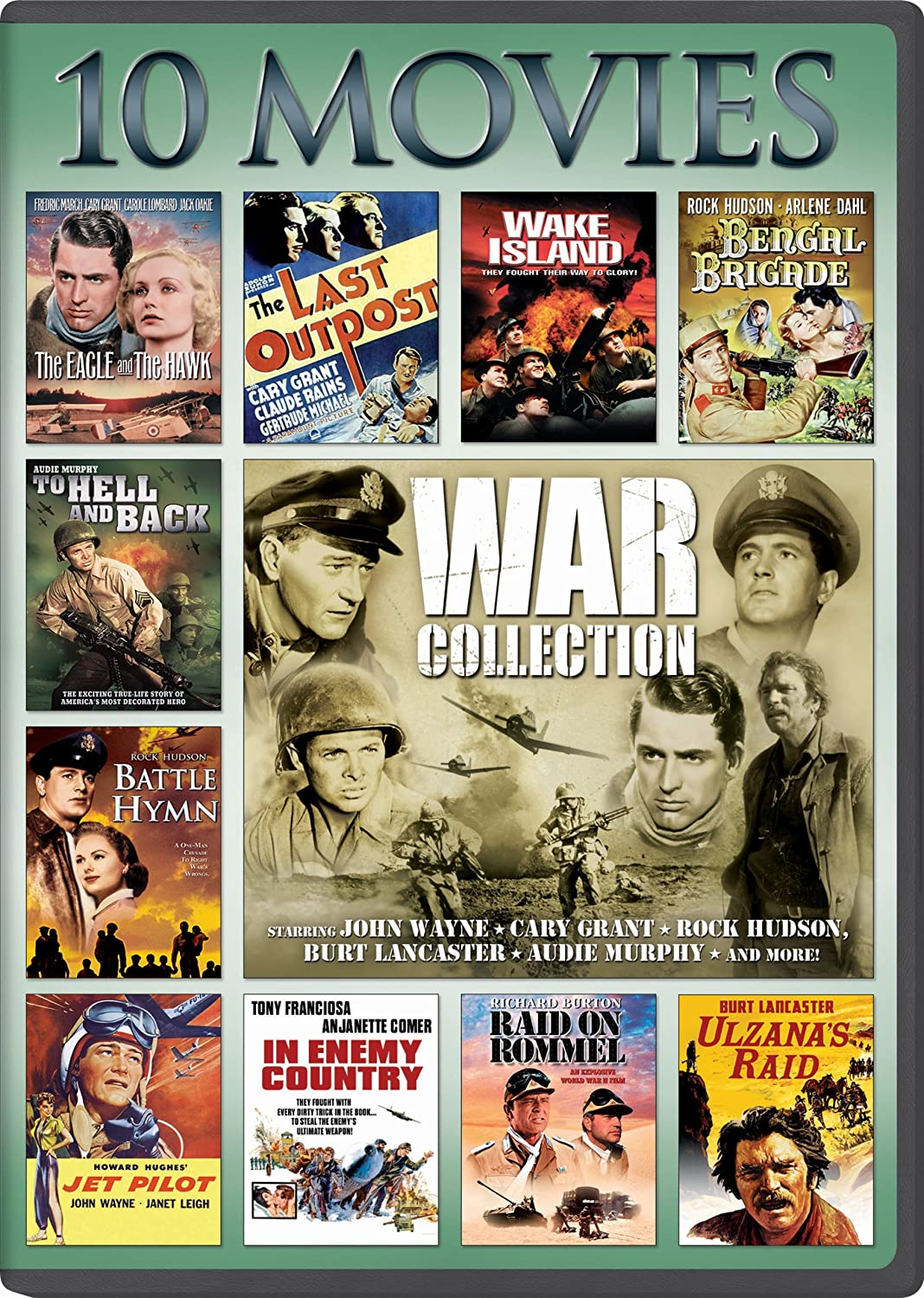 War, 10-Movie Collection: The Eagle and The Hawk / The Last Outpost / Bengal Brigad / Jet Pilot / Ulzana's Raid / To Hell and Back / In Enemy Country / Raid on Rommel / Battle Hymn / Wake Island(Packaging may vary)
