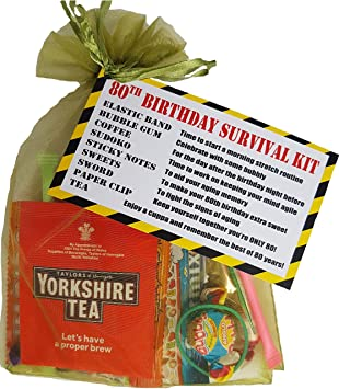 80th Birthday Survival KIT Gift Present Card Extra Fun Cheeky Idea For Him