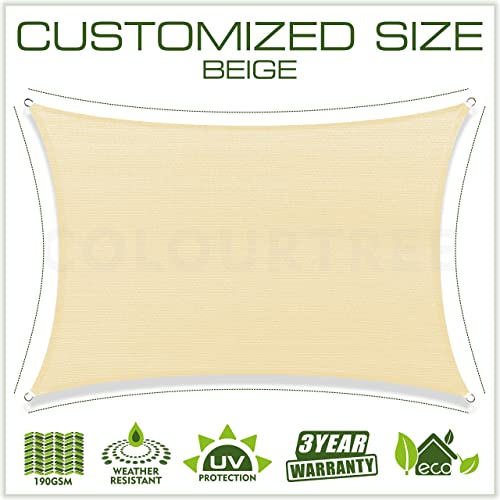 ColourTree 2nd Gen 12 x 16 Beige Sun Shade Sail Canopy Rectangle