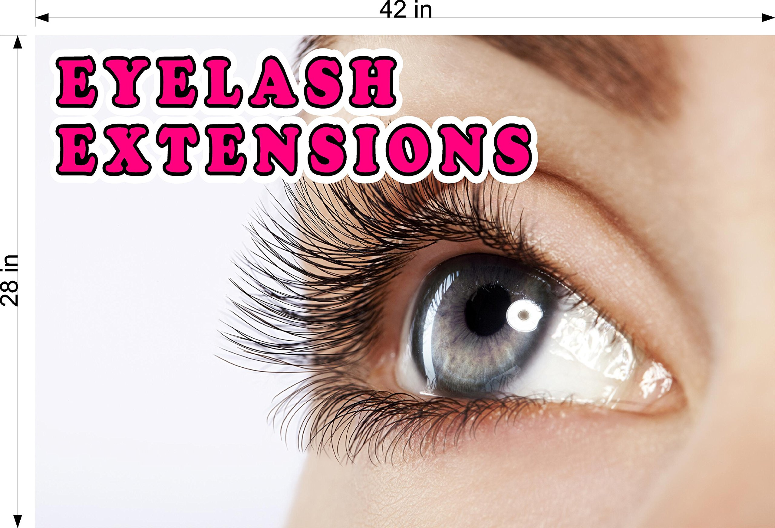 Cmyads.net Eyelash IX Eyelashes Eye Lash Extensions Woman Cosmetic Perforated Window removing hair See Though Salon Poster Vinyl 70/30 Tweezers Thin Out Shape Vertical (42'')
