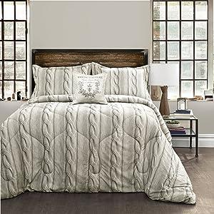 Lush Decor Lush Décor 4 Piece Printed Cable Knit Comforter Set, King, Gray