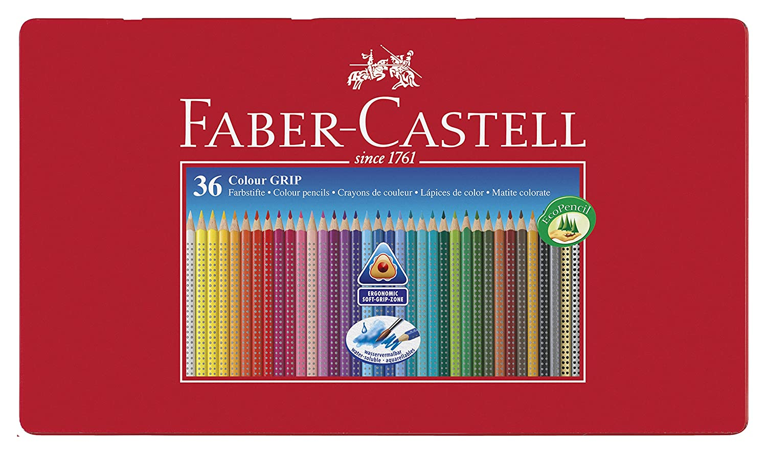 Faber Castell Estuche de metal con ecolápices triangulares de colores Grip acuarelables