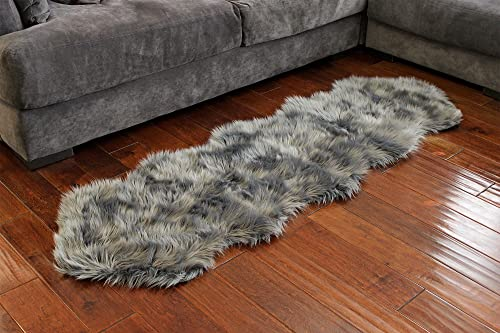 Nouvelle Legende Faux Fur Sheepskin Premium Rug Duo 23 in. X 73 in. Gray