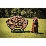 "Titan Outdoors 39"" Curved Crescent Firewood Log Rack Wood Holder Lumber Storage"