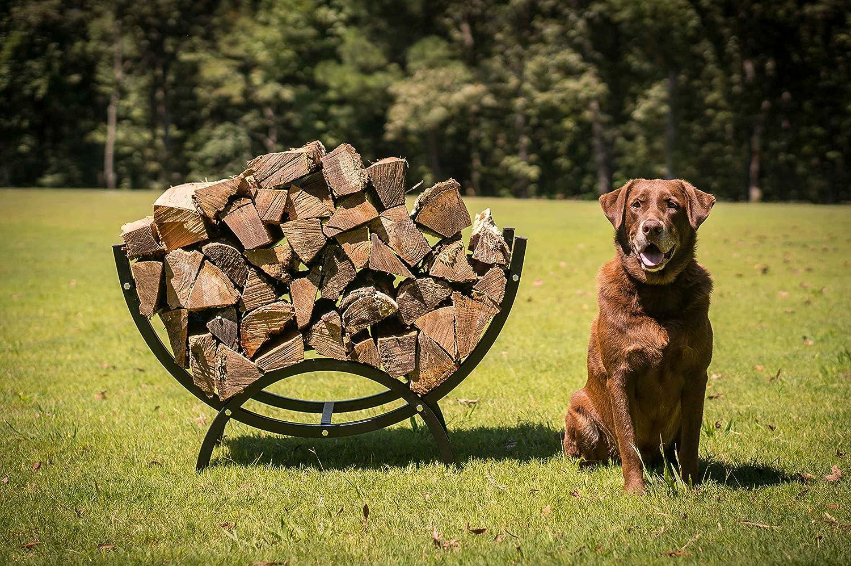 Titan Outdoors 39 Curved Crescent Firewood Log Rack Wood Holder Lumber Storage