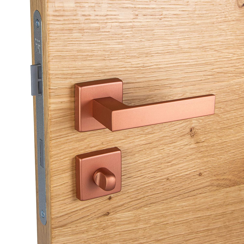 WC 1 Paar BAD PUSH 1317 T/ürbeschl/äge Vintage f/ür Innent/üren JUVA Design T/ürgriff Zimmert/ür Dr/ückergarnitur Aluminium T/ürklinke eckig mit quadratischer Rosette Antik Bronze Kupfer matt