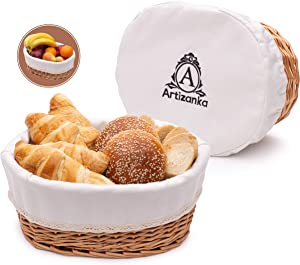 "Artizanka Large Bread Basket for Serving Set - 12x9"" Wicker Basket with Removable Liner and Cover, Bread Storage and Bread Serving Basket for Homemade Sourdough Bread. Pantry and Fruit Basket"