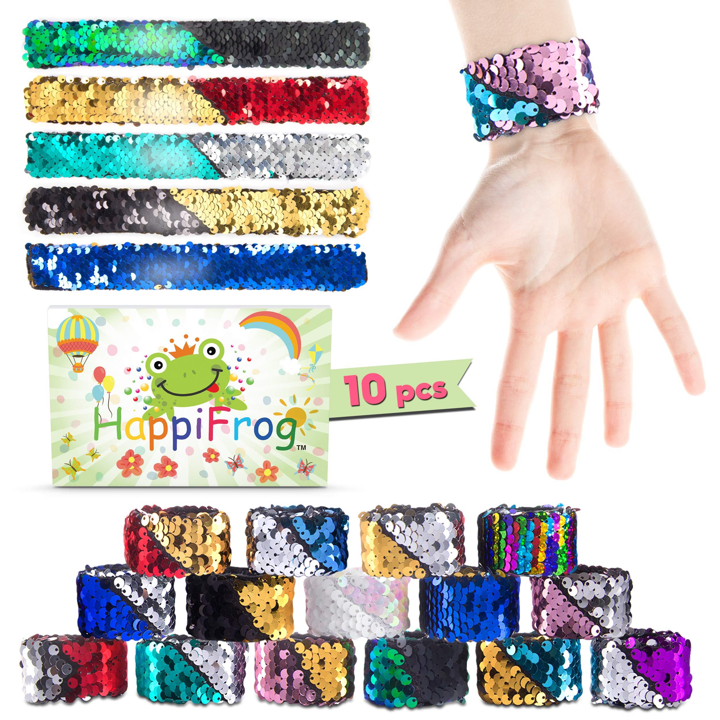 HappiFrog Mermaid Slap Bracelets, Mermaid Party Favors for Girls, Premium 10-Pack in Gift Box, Snap Bracelets Kids, Mermaid Favors for Party Bag Fillers, Reversible Sequin Bracelet, Random Colors by HappiFrog