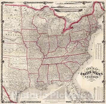 Amazon.com: Historic Map - Pocket Map, United States 1866 ...