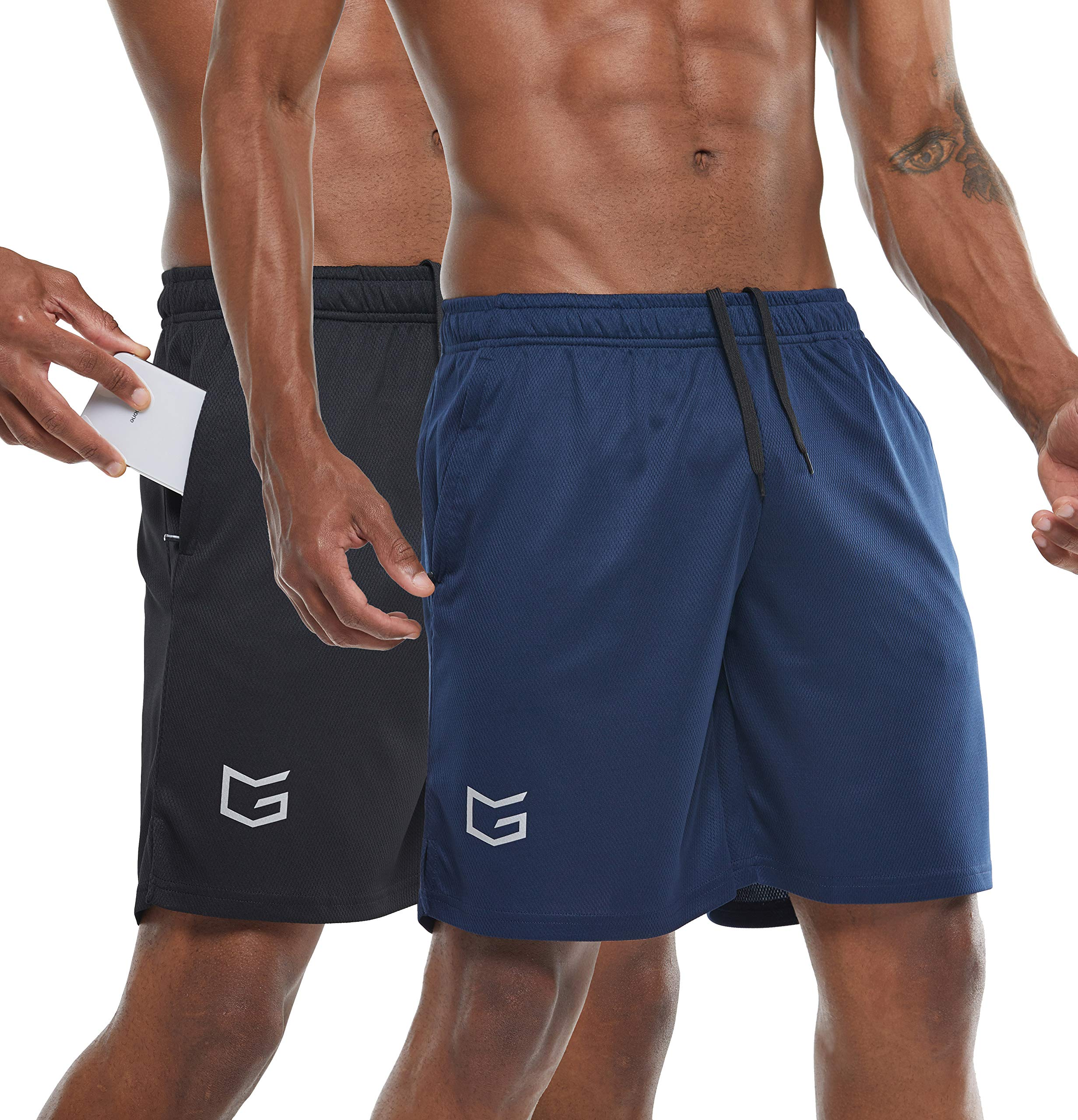 G Gradual Men's 7'' Workout Running Shorts Quick Dry Lightweight Gym Shorts with Zip Pockets (Navy Blue/Black, Small) by G Gradual