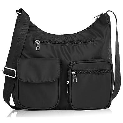 e63f4eeb3 Suvelle Lightweight Carryall Travel RFID Blocking Protection Crossbody Bag  Multi Pocket Shoulder Handbag BA10