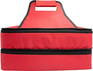 Insulated thermal food carrier with 2 sections and handles a zip around closure for easy carrying for casseroles, pies, lunch, potluck, Picnics and more to help keep food warm (Red, Rectangle)