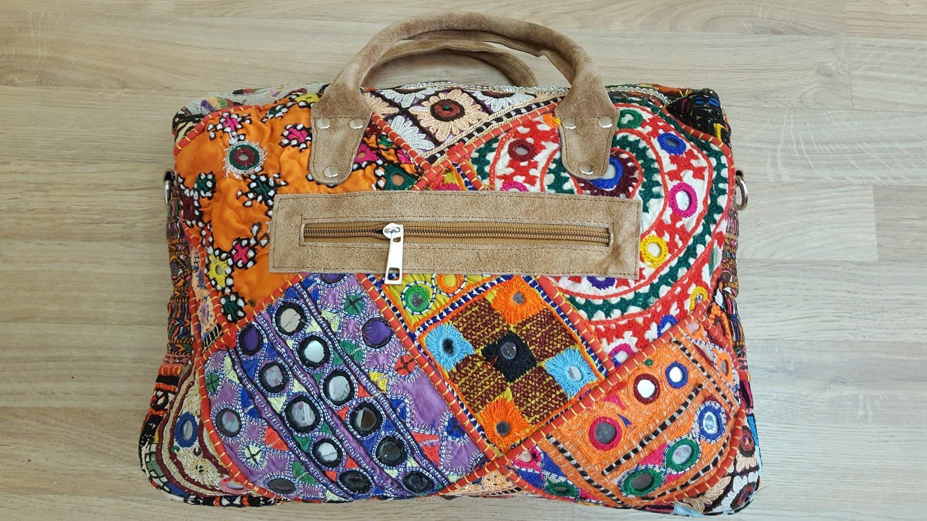 Top handle HAND EMBROIDERED shoulder bag, Cross Body Bag, Weekend Bag, Baby Bag, Laptop Bag