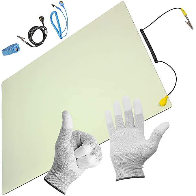 Minadax ESD Antistatik-Matte 50 cm x 60 cm - inkl. Manschette + Verlängerung + Handschuhe - Professionelle Antistatische Arbe