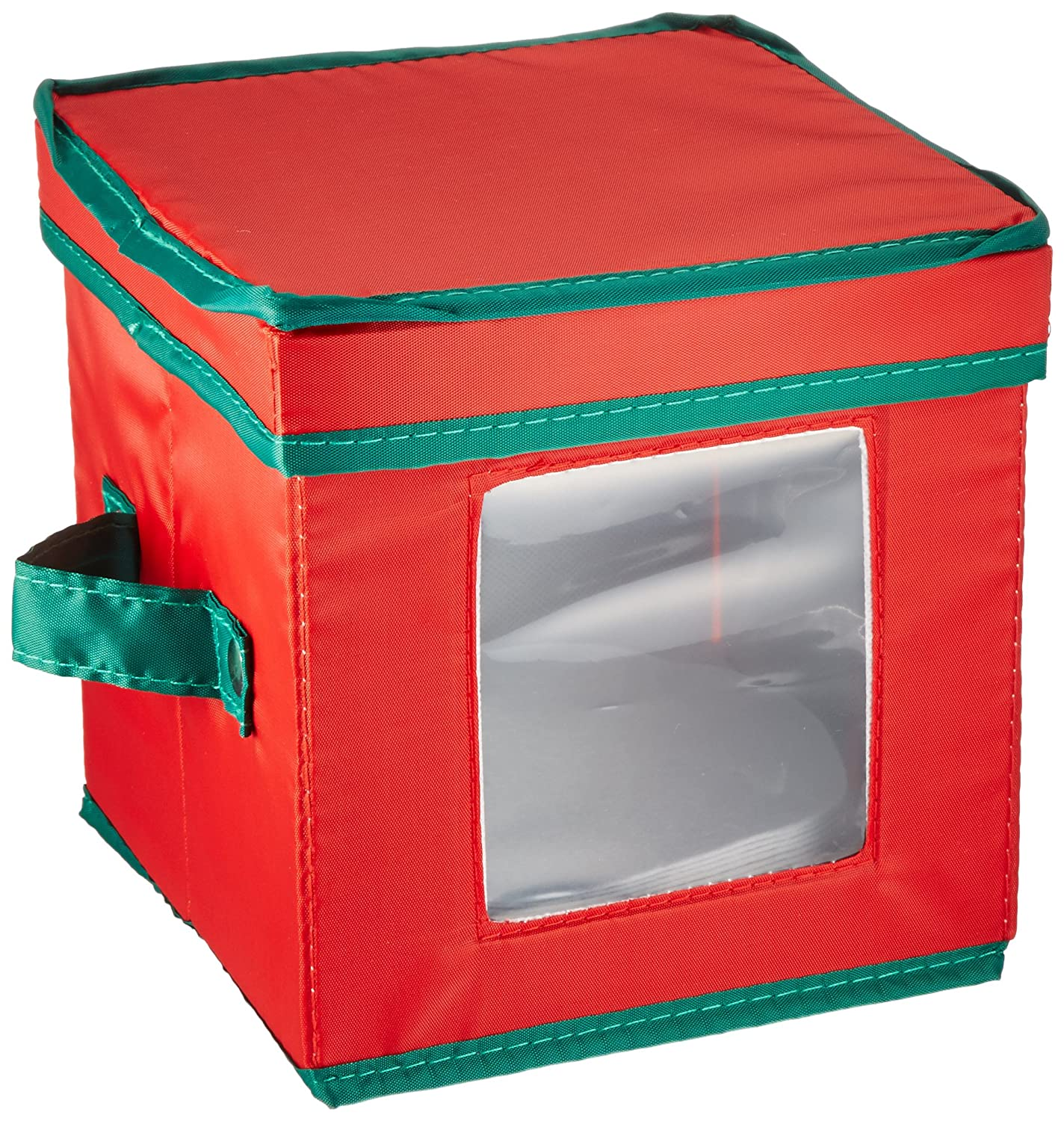 Household Essentials 537RED Holiday China Storage Chest with Lid and Handles | Charger Plates and Platters | Red Canvas with Green Trim