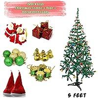 Zest 4 Toyz 5 Feet Christmas Tree with 2 Santa Cap & 100 Pcs Tree Decoration Set for Christmas Home Decor (Balls, Bells, Gifts, Drums, Candy Sticks & Santa Claus)
