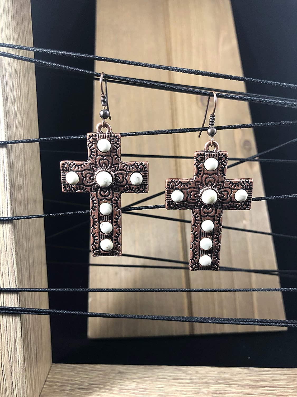 NoraJae Gems Antique Copper Cross Earrings with Cream Stones