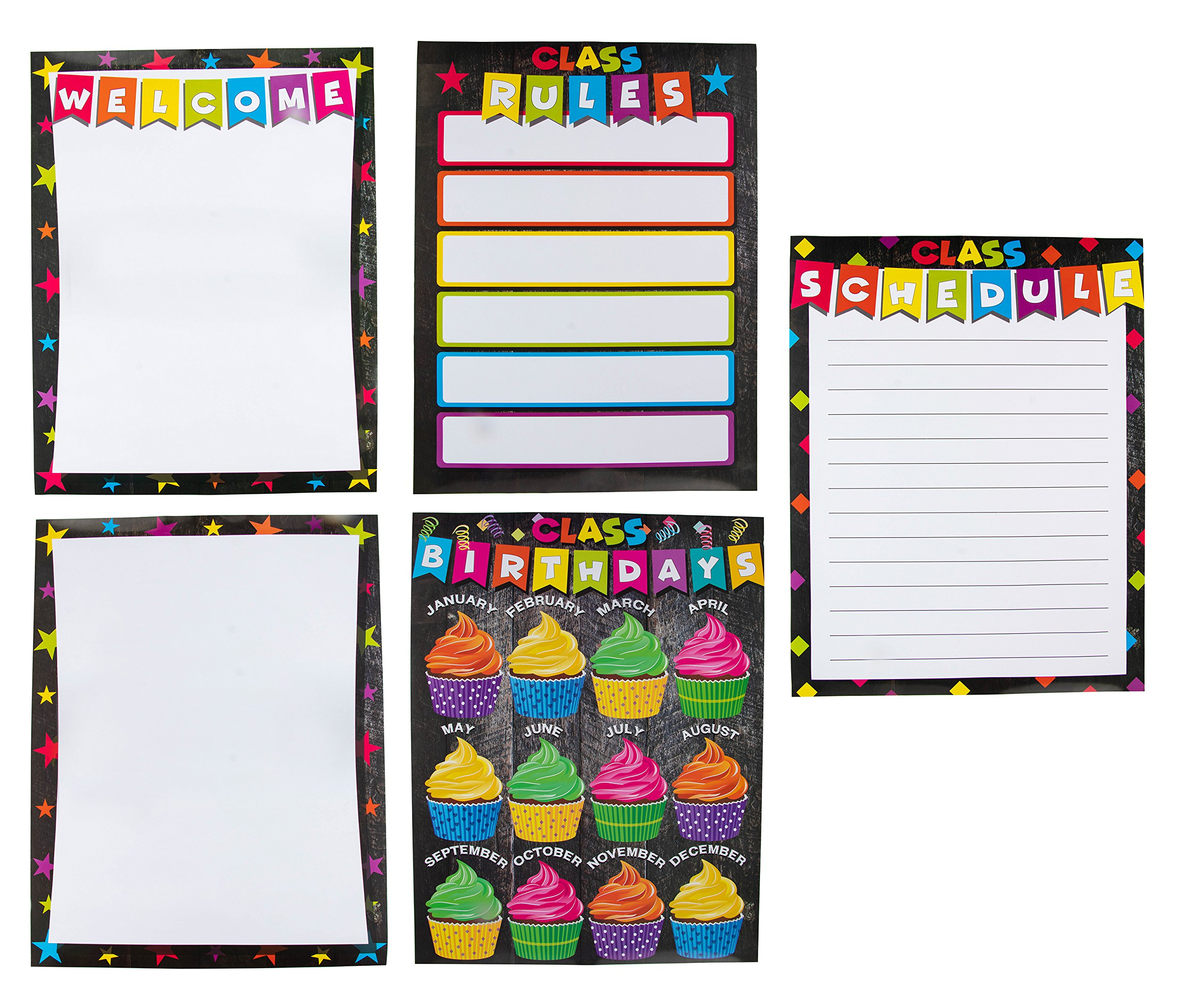 Classroom Poster - 5-Pack Classroom Essentials Charts with Welcome, Classroom Schedule, Rules, Birthdays, and Blank One for Teachers, Kindergarten, Elementary, Middle School, 157GSM, 17 x 22 inches