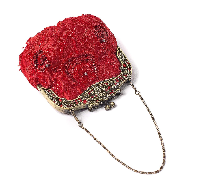 dcacb0e9b8cecc Clutches & Evening Bags ILISHOP Womens Antique Beaded Party Clutch Vintage  Rose Purse Evening Handbag ...